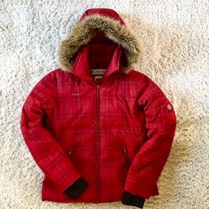 Columbia Down Puff Red Plaid Coat Jacket Fur Hood